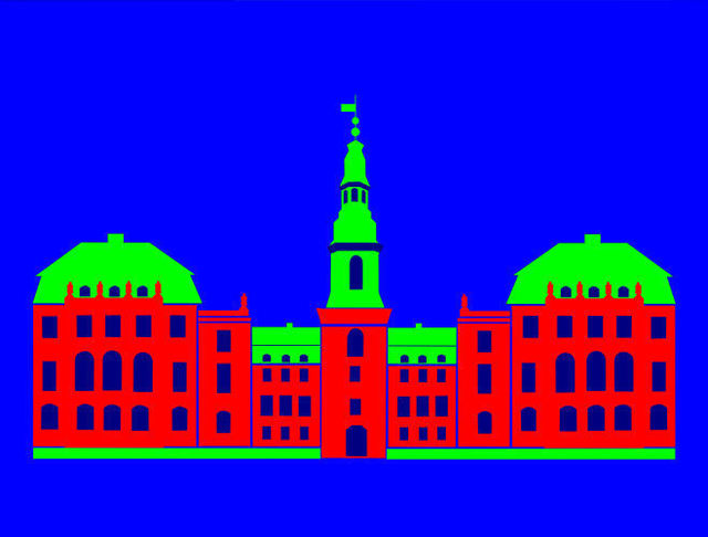 Asbjorn Lonvig  'Christiansborg Palace Red', created in 2006, Original Painting Other.
