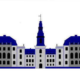 Asbjorn Lonvig: 'Christiansborg Palace White', 2006 Acrylic Painting, Abstract. Artist Description: Christiansborg Palace on Slotsholmen in central Copenhagen is the home of Denmark' s three supreme powers: the executive power, the legislative power, and the judicial power. It is the only building in the world which is the home of all a nation' s three supreme powers. The palace ...