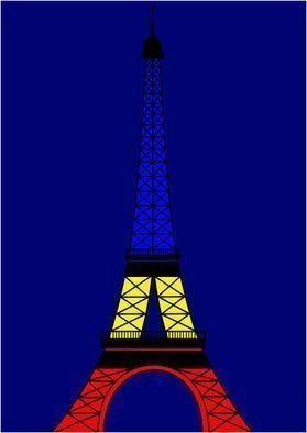 Asbjorn Lonvig: 'Colorful Eiffel Tower', 2010 Serigraph, Abstract.              For sale is 1 original inks on canvas, size: 84 x 59,4 cm ( 33. 1i? 1/2 x 23. 4i? 1/2) , price is US$ 8,632.For sale is furthermore 210 exclusive fine art prints numbered and signed archival inks on cotton, that is on Hahnemi? 1/2hle Museum Etching 350gsm fine art...