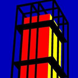 Asbjorn Lonvig: 'Denmark Forty One Arne Jacobsen Tower', 2005 Acrylic Painting, Architecture. Artist Description: The tower of Aarhus City Hall designed by the famous Danish architec Arne Jacobsen. He who designed the Ant Chair back in 1952....