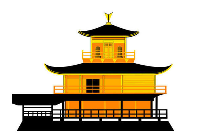 Asbjorn Lonvig  'Golden Pavilion II', created in 2010, Original Painting Other.