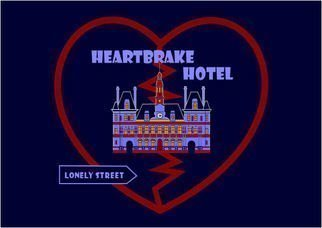 Asbjorn Lonvig: 'Heartbrake Hotel', 2010 Serigraph, Abstract.                                       For sale is 1 original inks on canvas, size: 84 x 59,4 cm ( 33. 1