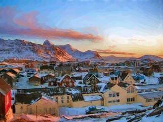 Asbjorn Lonvig: 'Nuuk City Greenland at Polar Night', 2014 Digital Painting, Landscape.  Nuuk City is the capitol of Greenland.Enjoy the Polar Night atmosphere. ...