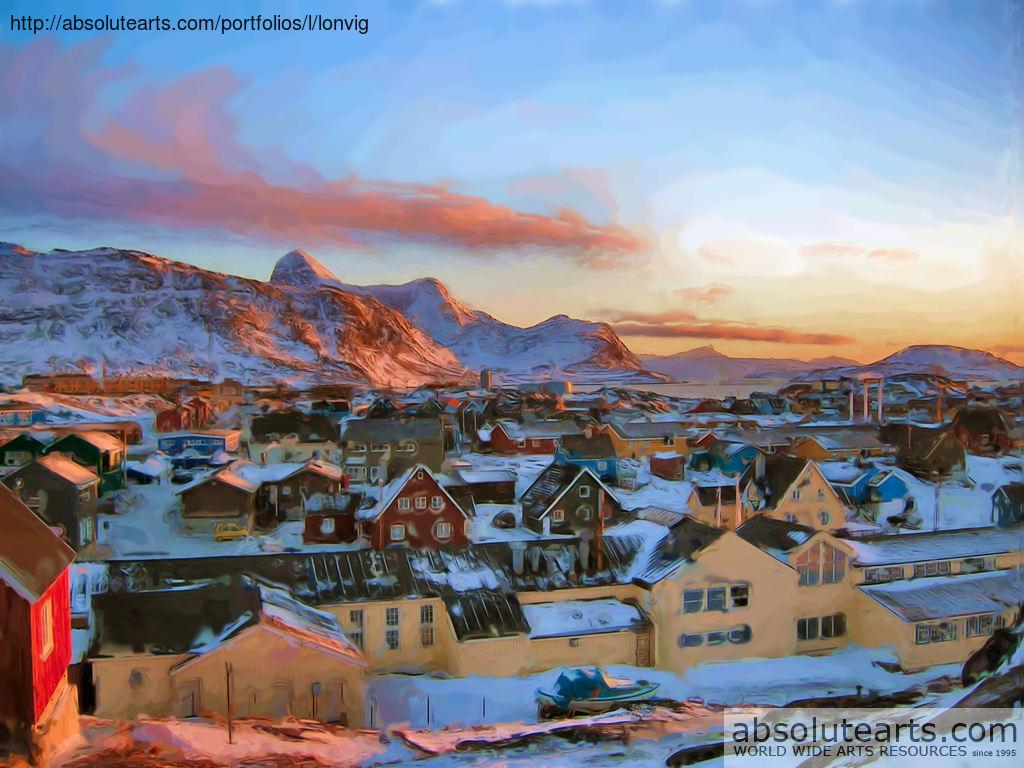 Asbjorn Lonvig Artwork Nuuk City Greenland At Polar Night
