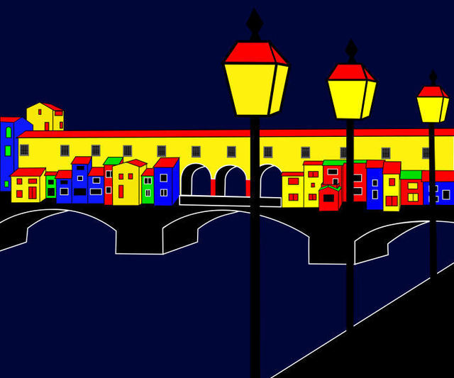 Asbjorn Lonvig  'Ponte Vecchio Inspirations', created in 2009, Original Painting Other.