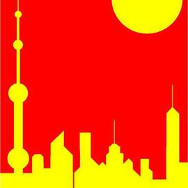 Shanghai Sunshine Signed Print on Canvas  By Asbjorn Lonvig