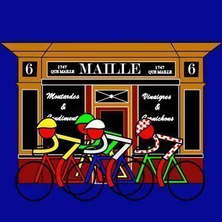 Asbjorn Lonvig: 'Stage 21 Passing Shop at 6 Place de la Madeleine', 2011 Serigraph, Sports. Artist Description:         They are for sale as 1 inks on Hahnemuhle quality canvas and 210 numbered and signed Fine Art prints on Hahnemuhle quality paper.Maille is famous for its oils, mustards and vinegars, for more than 260 years Maille has delighted lovers of fine food everywhere, with ...