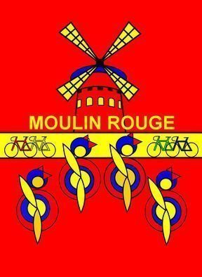 Asbjorn Lonvig: 'Stage 21 Riders took a break at Moulin Rouge', 2011 Serigraph, Sports.   They are for sale as 1 inks on Hahnemuhle quality canvas and 210 numbered and signed Fine Art prints on Hahnemuhle quality paper.On the first part of Stage 21 the riders took a break. Somebody said that they had seen their bikes outside  Moulin Rouge.Meta: tour...