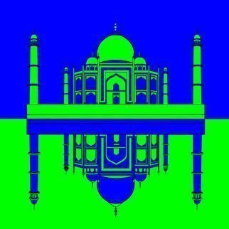 Asbjorn Lonvig: 'Taj Mahal Inspiration', 2010 Serigraph, Abstract.  The Taj Mahal is a mausoleum located in Agra, India, built by Mughal Emperor Shah Jahan in memory of his favorite wife, Mumtaz Mahal.The Taj Mahal ( also