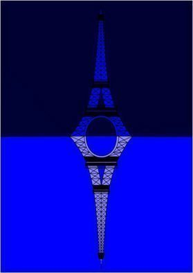 Asbjorn Lonvig: 'The Eifel Tower Mirror', 2010 Serigraph, Abstract.     For sale is 1 original inks on canvas, size: 84 x 59,4 cm ( 33. 1