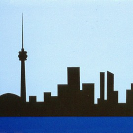 Asbjorn Lonvig Artwork Toronto skyline, 1993 Collage, Abstract