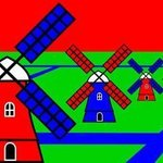 Netherlands Windmills Color, Asbjorn Lonvig