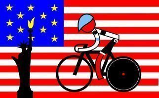 Asbjorn Lonvig: ' Stage 3 American wins on 4th of July', 2011 Serigraph, Sports.   They are for sale as 1 inks on Hahnemuhle quality canvas and 210 numbered and signed Fine Art prints on Hahnemuhle quality paper.Winner Stage 3 Tour De France 2011 from Olonne sur Mer to Redon.The rider is an American - Tyler Farrar. He won on the American...