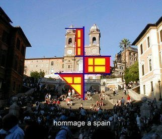 Asbjorn Lonvig: 'hommage a spain', 2003 Steel Sculpture, Abstract. Spanish Stairs, Piazza di Spagna, Rome.In 2002 I investigated the