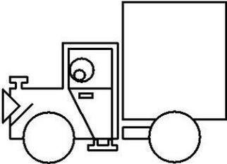 Asbjorn Lonvig: 'jack the truck FREE', 2003 Illustration, Abstract. From the coloring book