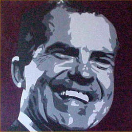 Asbjorn Lonvig: 'nixon', 2000 Acrylic Painting, Portrait. Artist Description: By Morten Lonvig, my eldest son. My role in this is being a consultant and being proud. By means of the newest technology and ancient portrait art using computer, paintbrush and acrylic on canvas Morten has developed his own very unique style in portrait painting. As an assignment ...