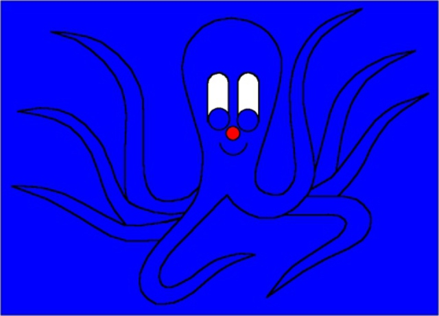 Asbjorn Lonvig  'Octopus In Blue Surroundings', created in 2002, Original Painting Other.