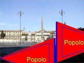 Asbjorn Lonvig: 'popolo', 2003 Steel Sculpture, Abstract. Piazza del Popolo, Rome.Inspired from a mistake. As I left Rome I was sad that I hadn' t seenS. Maria dei Miracoli and S. Maria in Montesanto.The