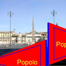 Asbjorn Lonvig: 'popolo', 2003 Steel Sculpture, Abstract. Artist Description: Piazza del Popolo, Rome.Inspired from a mistake. As I left Rome I was sad that I hadn' t seenS. Maria dei Miracoli and S. Maria in Montesanto.The