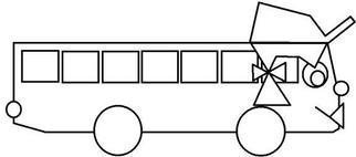 Asbjorn Lonvig: 'the bus belinda FREE', 2003 Illustration, Abstract. From the coloring book