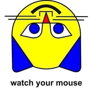 Asbjorn Lonvig: 'watch your mouse', 2007 Serigraph, Abstract.  Print on canvas.Yellow cat looking down - with the text