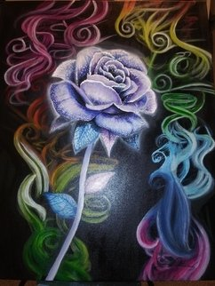Dustin Gutierrez: 'passionate', 2019 Acrylic Painting, Beauty. This picture i painted of a luminous purple rose with rainbow colored smoke coming up from behind it.  ...