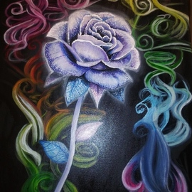 Dustin Gutierrez: 'passionate', 2019 Acrylic Painting, Beauty. Artist Description: This picture i painted of a luminous purple rose with rainbow colored smoke coming up from behind it.  ...