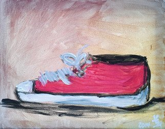 Loretta Nash Artwork Red Tennis Shoe, 2014 Acrylic Painting, Still Life