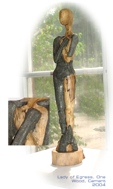 Lorraine Fedor  'Lady Of Egress, One', created in 2004, Original Sculpture Wood.