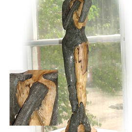 Lorraine Fedor: 'Lady of Egress, One', 2004 Wood Sculpture, Abstract Figurative.