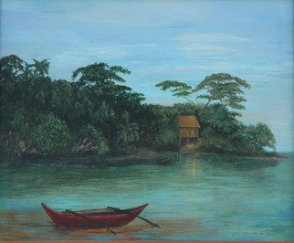 Lorrie Williamson: 'Mystery of the Red Canoe', 2003 Oil Painting, Scenic.  A narrative that' s best unspoken.  A South Florida land and sea scape for the viewer' s pleasure. ...