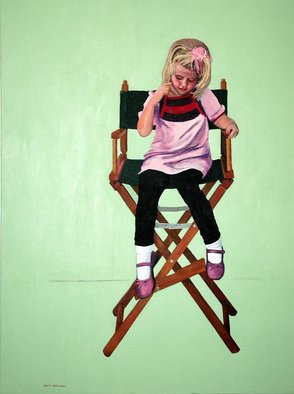 Lorrie Williamson: 'Occupied', 2010 Acrylic Painting, Figurative.  A painting of a child infatuated with the artist' s chair. The empty background represents how engrossed the child can be in what she is doing, and how oblivious to anything around her. ...