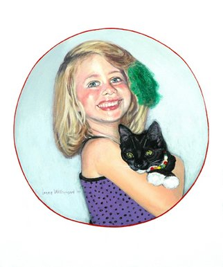 Lorrie Williamson: 'Playing DressUp', 2010 Acrylic Painting, Figurative.  The portrait of a child with her cat.Playing dress- up in things not normally worn. The circle represents the