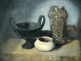 Lorrie Williamson: 'Relics from the Past', 2008 Oil Painting, Still Life.  A Still Life painting of objects made from earth products; iron, glass, and clay. Oil glazed and rubbed to give the effect of an antique painting. ...