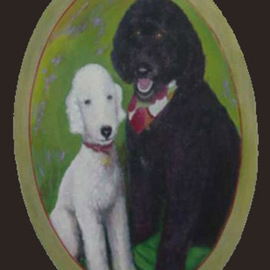 Lorrie Williamson: 'Robertas Pups', 2004 Acrylic Painting, Portrait. Artist Description:   Pet Portrait. Bedlington Terrier and a Portuguese Water Dog painted on an oval canvas with painted antique gold border.  Painted from Photos.  Request price for a Pet Portrait from your photos....