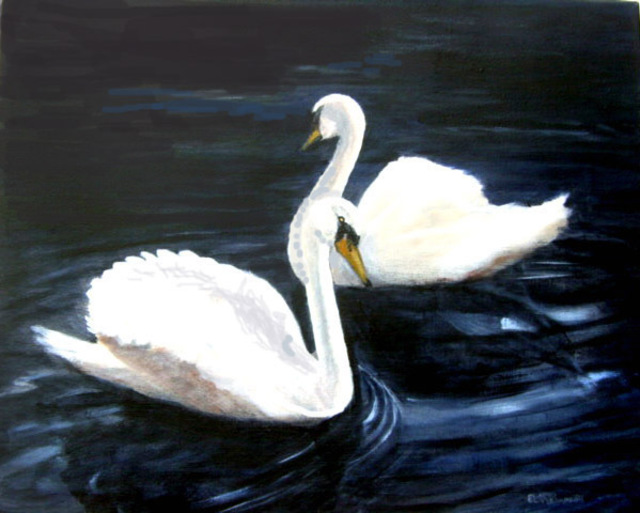 Swans By Moonlight >> Swans In The Moonlight Oil Painting By Lorrie Williamson