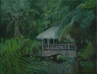 Lorrie Williamson: 'The Tiki Bridge', 2004 Oil Painting, Landscape.  The Quonset Bridge adds to the natural wonder of the Bonnet House landscape. ...