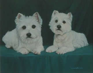Animals Oil Painting by Lorrie Williamson titled: The Westies, created in 2005