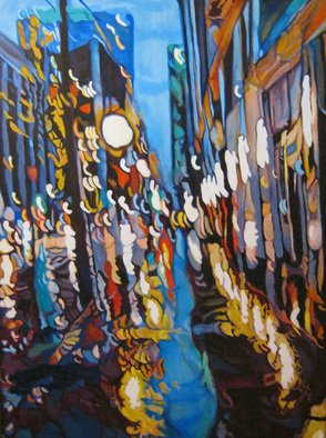Claudette Losier: 'Night Vision 2', 2012 Acrylic Painting, Cityscape.  Working through images of different cities where I lived and worked to give a sense of place in the abstract form.    ...