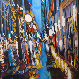 Claudette Losier: 'Night Vision 2', 2012 Acrylic Painting, Cityscape. Artist Description:  Working through images of different cities where I lived and worked to give a sense of place in the abstract form.    ...
