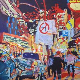 Claudette Losier: 'No Left Turn', 2013 Acrylic Painting, Cityscape. Artist Description:    Working through images of different cities where I lived and worked to give a sense of place in the abstract form.      ...