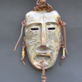 Louise Parenteau: 'AKIRO', 2014 Ceramic Sculpture, Mask. Artist Description:  Ceramic, wood, leather, found objects.  ...