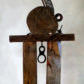Louise Parenteau: 'ALANIS', 2010 Mixed Media Sculpture, Ethnic. Artist Description:        Scrap material:wood, metal, found objects sculpture, art, ethnic, tribal, wood, metal, scrap, recycled, contemporary, actual, african                 ...