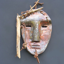 Louise Parenteau: 'AYA', 2014 Ceramic Sculpture, Mask. Artist Description:   Ceramic, wood, leather, found objects.  ...