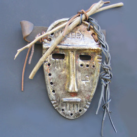 Louise Parenteau: 'KEBEK', 2014 Ceramic Sculpture, Mask. Artist Description:  Ceramic ( raku) , qood, leather, found objects.    ...