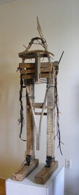Louise Parenteau: 'SITTING BULL', 2010 Mixed Media Sculpture, Ethnic.  Scrap material: Wood, metal, leather, found objects.     ...