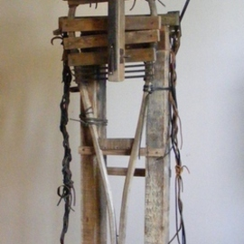 Louise Parenteau: 'SITTING BULL', 2010 Mixed Media Sculpture, Ethnic. Artist Description:  Scrap material: Wood, metal, leather, found objects.     ...