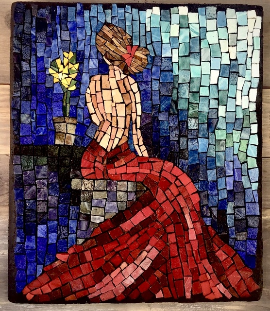 Laurie Reiss  'Lady In Red', created in 2018, Original Mosaic.