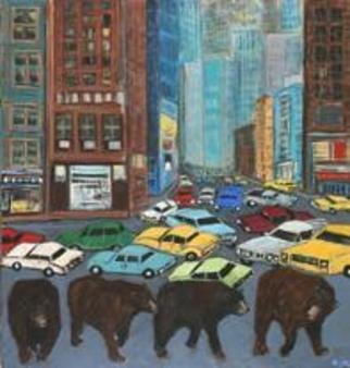 Animals Acrylic Painting by Lynn Rupe titled: Expect Delays for Bears, created in 2005