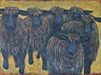Artist: Lynn Rupe - Title: Monkton sheep coming down the hill - Medium: Acrylic Painting - Year: 2010